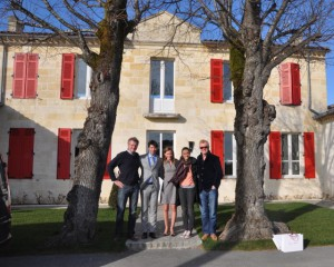 Ronan Laborde & Monique Montepini of Chateau Clinet, Natasha & Chris Evans. And tour guide (left).